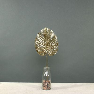 Glitter Monstera leaf sml Gold