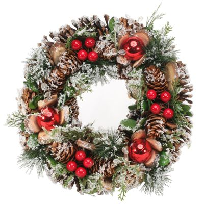 30cm Snowy Red Bauble/Clear Beads wreath
