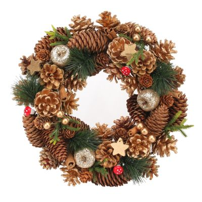 30cm Woodland / Wooden Gold Stars / Fruit wreath