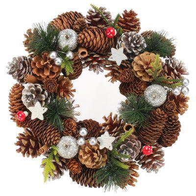 30cm Woodland / Wooden Silver Stars / Fruit wreath