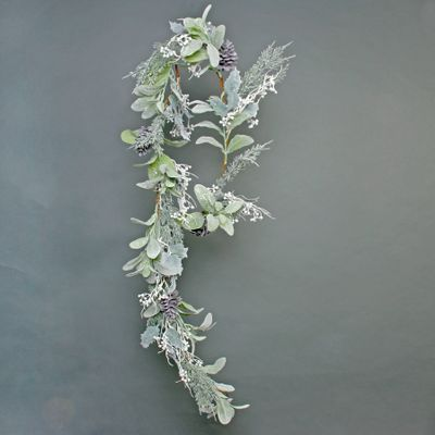 Lambs ear, Holly, Cone, and White Berry flocked garland 180cm