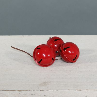 5cm Bells on wire x 3 Red
