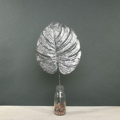 Glitter Monstera leaf med Silver
