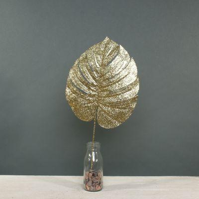 Glitter Monstera leaf Med Gold