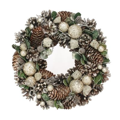 30cm Silver Bauble / Stones wreath