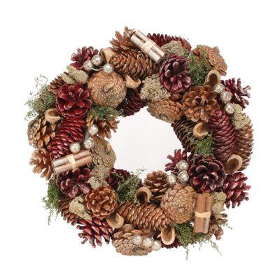 30cm Burgundy Cone/Cinnamon wreath