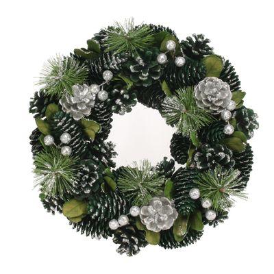 30cm Green and Silver Glitter wreath