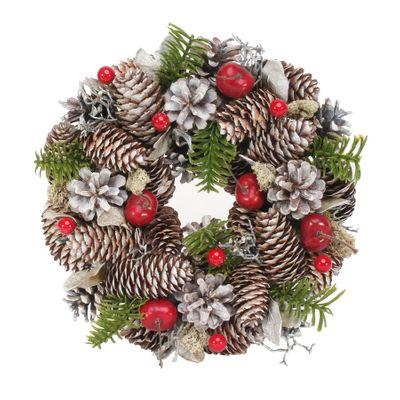 30cm Natural Cones / Red Berries wreath
