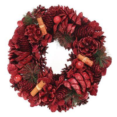 30cm Red Glitter / Cinnamon wreath