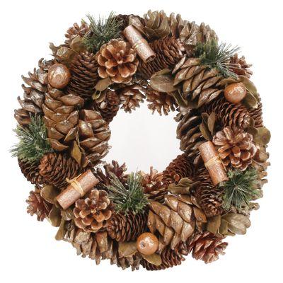 30cm Russet Sparkle Cone wreath