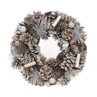 30cm Silver Glitter / Cinnamon wreath