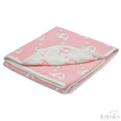 Reversible White/Pink Elephant Cotton Wrap : FBP218-P