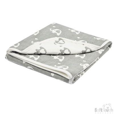 Reversible White/Grey Elephant Cotton Wrap : FBP218-W