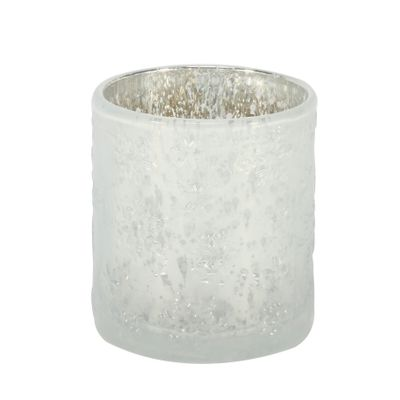White Frosted Cylinder Votive Candle Holder