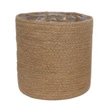 20cm Natural Jute Braided Rope Round Basket w/Liner
