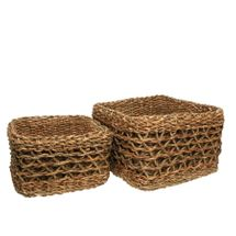 Set of 2 Square Natural Seagrass Baskets with Liner