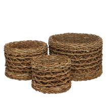 Set of 3 Round Natural Seagrass Baskets w/Liner