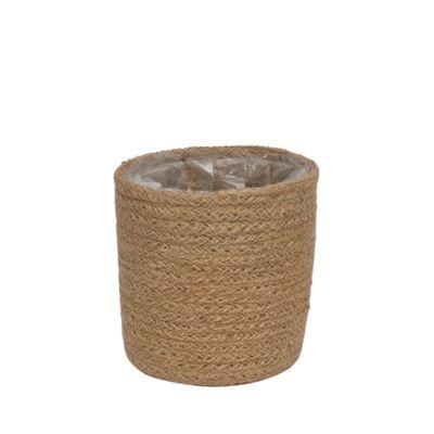12cm Natural Jute Braided Rope Round Basket w/Liner
