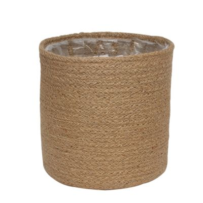 18cm Natural Jute Braided Rope Round Basket w/Liner