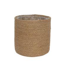16cm Natural Jute Braided Rope Round Basket w/Liner