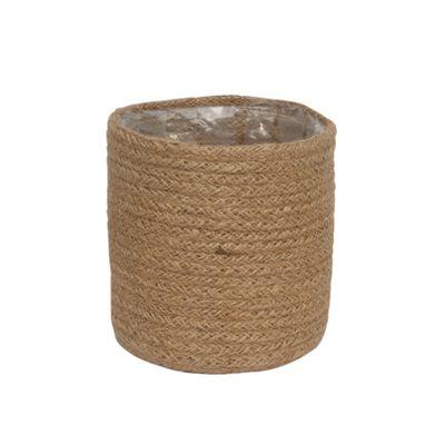 14cm Natural Jute Braided Rope Round Basket w/Liner
