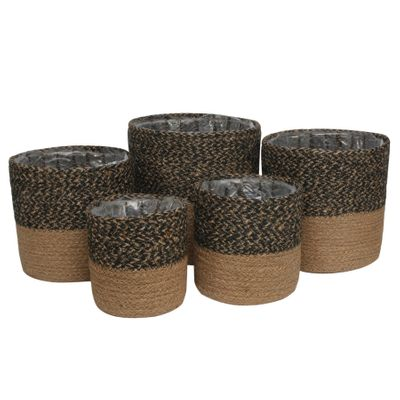 Set of 5  Two-Tone Black & Natural Jute Braided Rope Basket with Liner