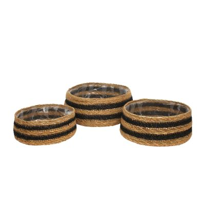 Set of 3 Natural Seagrass Shallow Basket with Liner
