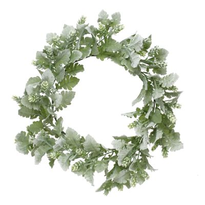 Dusty Miller and hops wreath 60cm