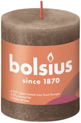 Bolsius Rustic Shine Pillar Candle 80 x 68 - Suede Brown