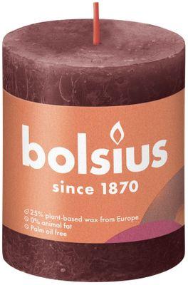 Bolsius Rustic Shine Pillar Candle 80 x 68 - Velvet Red