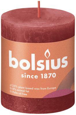 Bolsius Rustic Shine Pillar Candle 80 x 68 - Delicate Red