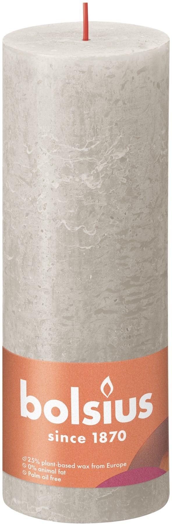 Bolsius Rustic Shine Pillar Candle 190 x 68- Sandy Grey