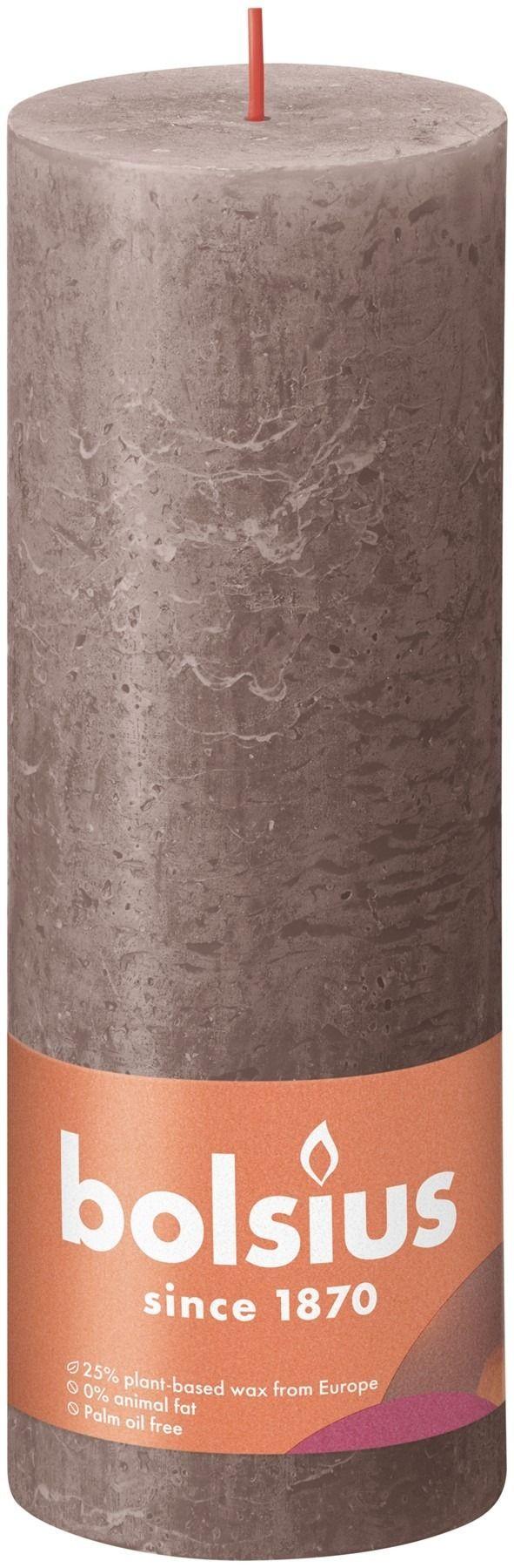 Bolsius Rustic Shine Pillar Candle 190 x 68 - Rustic Taupe