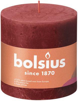 Bolsius Rustic Shine Pillar Candle 100 x 100 - Rustic Delicate Red