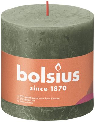 Bolsius Rustic Shine Pillar Candle 100 x 100 - Fresh Olive