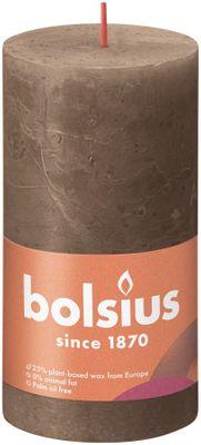 Bolsius Rustic Shine Pillar Candle 130 x 68 - Suede Brown