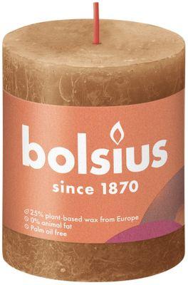 Bolsius Rustic Shine Pillar Candle 80 x 68 - Spice Brown
