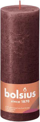 Bolsius Rustic Shine Pillar Candle 190 x 68 - Velvet red
