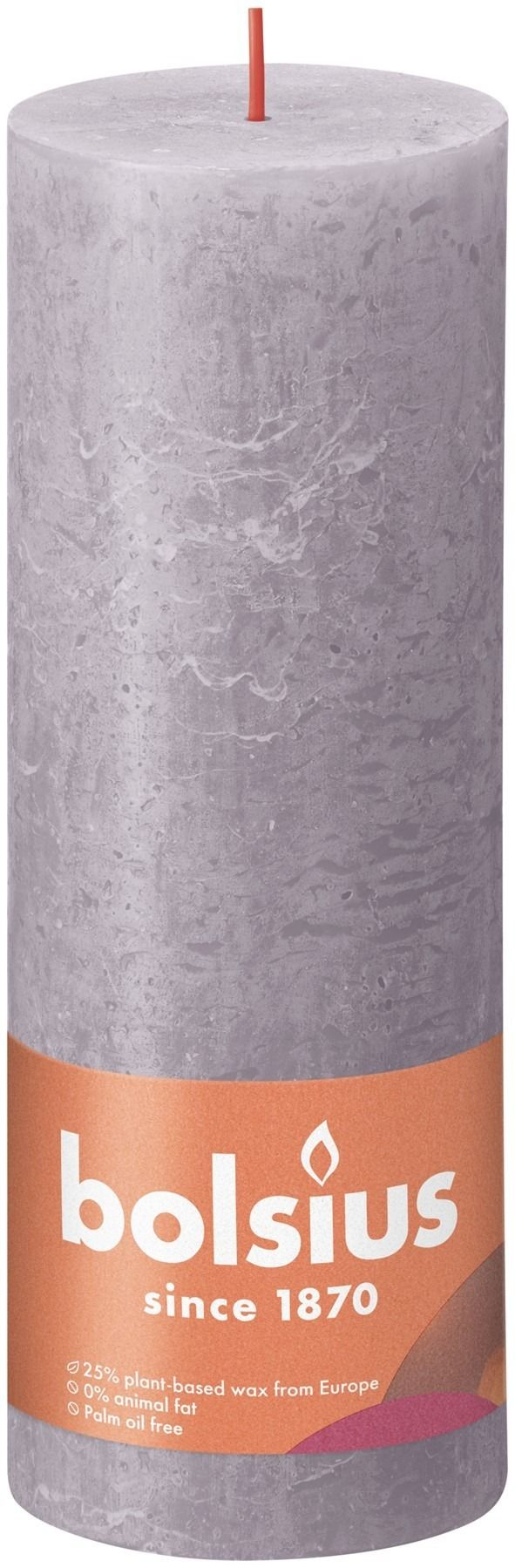 Bolsius Rustic Shine Pillar Candle 190 x 68 - Frosted Lavender