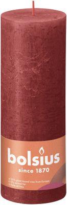 Bolsius Rustic Shine Pillar Candle 190 x 68- Delicate Red