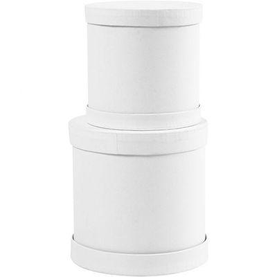 Drum boxes, H: 4+5+7 cm, D: 4+5+6,5 cm, white, 1