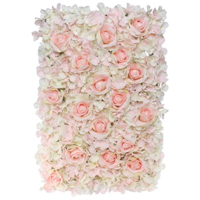 40x60cm Hydrangea Flower Wall with Roses Pink