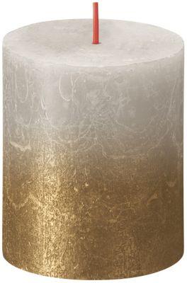 Bolsius Rustic Metallic Candle 80 x 68 - Faded Sandy Grey Gold