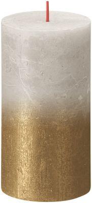 Bolsius Rustic Metallic Candle 130 x 68 - Faded  Sandy Grey Gold