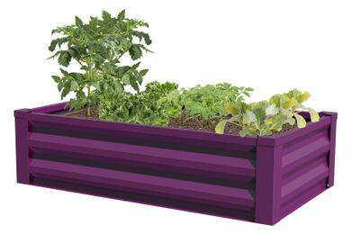 Metal Raised Garden Planter with Liner, Eggplant