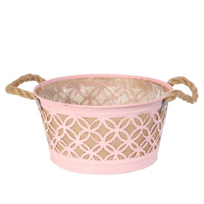 Round Pink Zinc Planter with Hessian Liner & Rope Handles