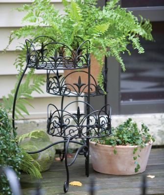3-Tier Folding Classic Finial Plant Stand, Black