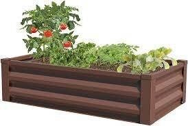 Metal Raised Garden Planter with Liner, Timber Brown
