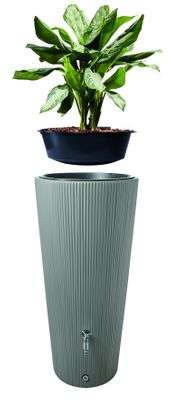 LINUS 2in1 water tank 220 litres, zink grey, integrated plant cup