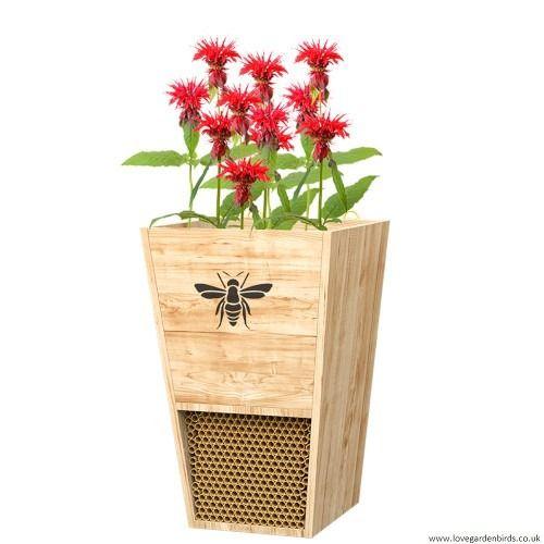 Heavy Duty Cedar Mason Bee House Planter with Fabric Liner